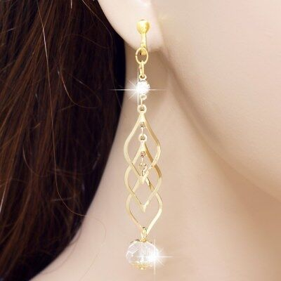 E122j 3  Long Clip On Earrings Dangle Teardrop Crystal Ball Yellow Gold Plated