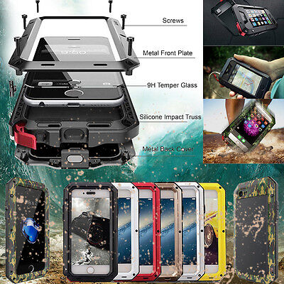HEAVY DUTY Shockproof Aluminum Gorilla Glass Metal Case Cover iPhone 7 8 X XS XR - Iphone Metal Cases