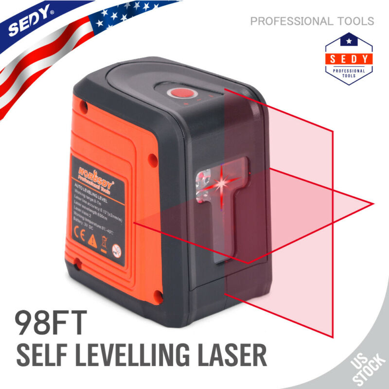 Laser Level DIY Cross Line Laser Self Leveling 98FT 2 pedestal Suction/Magnetic