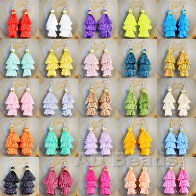 Fashion Charm Crystal Silk Tassel 3 Layers Fan Fringe Dangle -