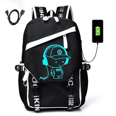 (Night Luminous Backpack Anti-Theft Laptop Bag School Shoulder Bags With USB Port)