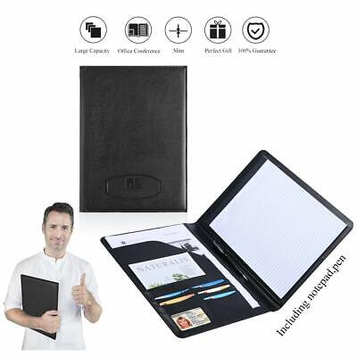 Leather Portfolio Folder Padfolio For Business School Office Conference