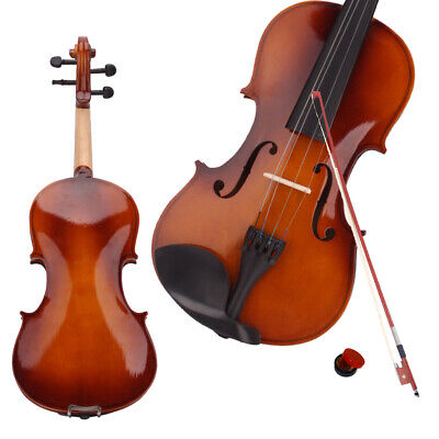 New 4/4 Natural Acoustic Violin Set + Case+ Bow + Rosin