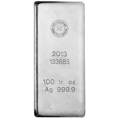 100 oz Royal Canadian Mint RCM 2013 Silver Bar .9999