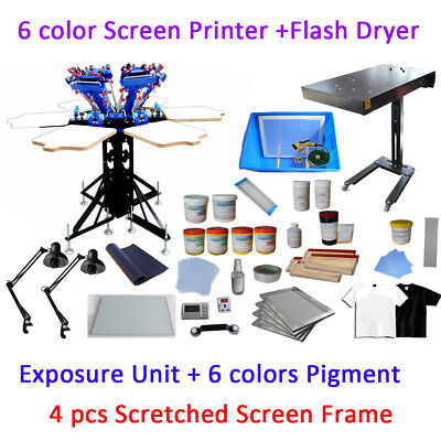 6 Color 6 Station Full Set Material Kit Screen Printing Press Flash Dryer Kit