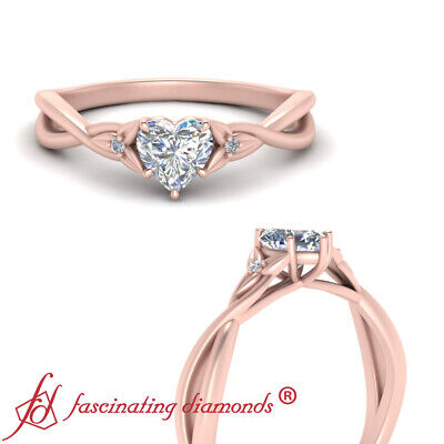 .45 Carat Heart Shaped Diamond Floral 3 Stone Engagement Ring In 14K Rose Gold