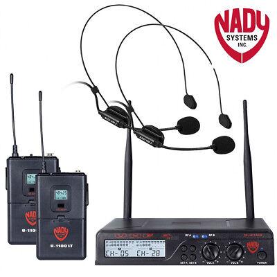 - Nady U-2100-HM3 Dual HM 200-Channel UHF Wireless Headset Microphone System