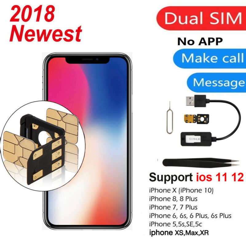 Dual SIM Card Double Adaper SIMHUB Separator For iPhone XS Max XR/X/8/ Universal
