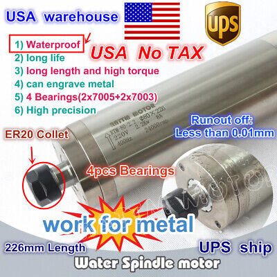 Usa Cnc 2.2kw Er20 Water Cooled Spindle Motor 80x226mm Waterproof Carved Metal