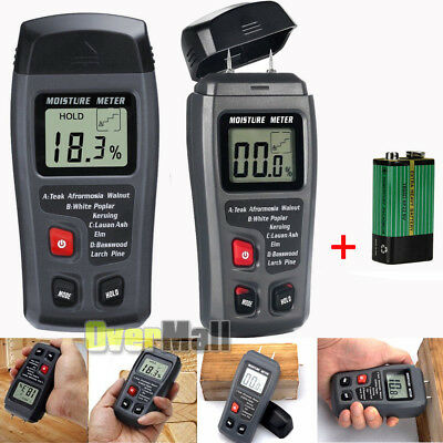 Lcd Display Digital Wood Moisture Meter Humidity Tester 2 Pins Probes 0-99.9 Us