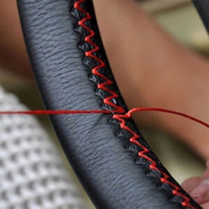 Black+Red Genuine Leather DIY Car Steering Wheel Cover With Needles and Thread