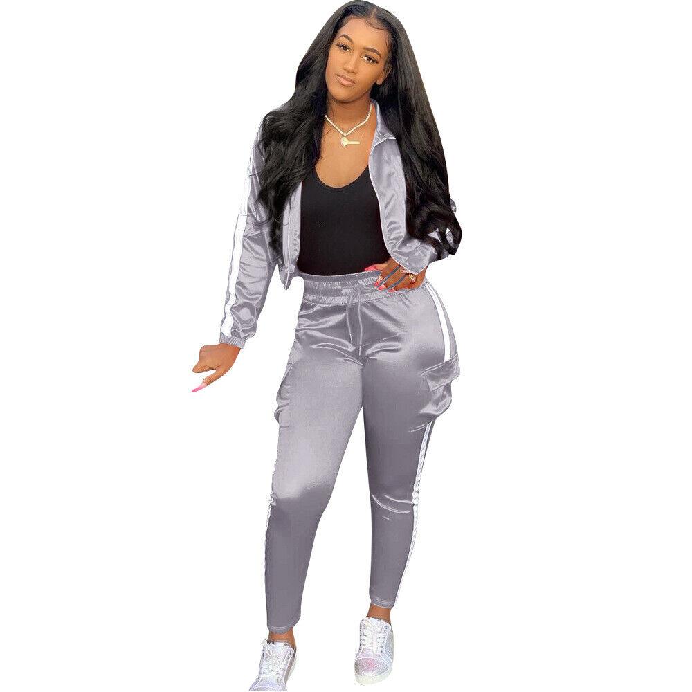 New Women Snakeskin Print Mock Neck Zipper Long Sleeve Casual Sport Jumpsuit 2pc