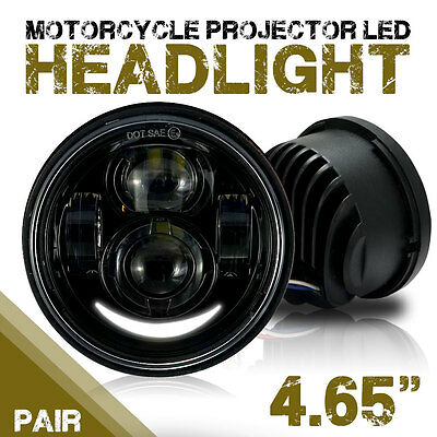 Black LED Motorcycle Daymaker HeadLights Lamp For Harley Fat Bob FXDF 2008-2016