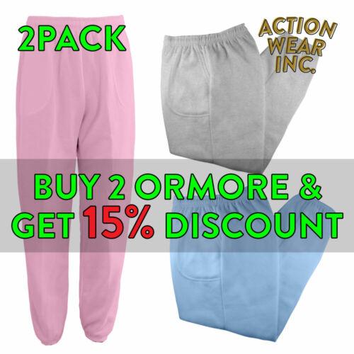 2 Pack Mens Womens Unisex Plain Sweatpants 3 Pocket Casual Fleece Pants Joggers