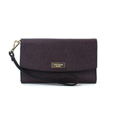 Kate Spade Newbury Lane phone Wallet Saffiano Leather Wristlet Mahogany Clutch