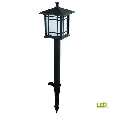 Hampton Bay Low-Volt Bronze LED Mission Style Path Light Frosted Glass (8-Pack)