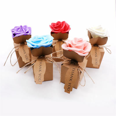 1~100x Brown Paper Candy Box With Rose Wedding Party Gift Favors Jewelry Packing (Brown Candy)