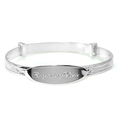 Solid Silver (925) Christening Engraved Personalised Bracelet Baby Present Gift