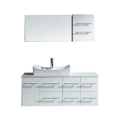 Virtu Usa Ceanna 53  W X 22  D White Vanity W  Stone Top W  Basin   Mirror No Fa