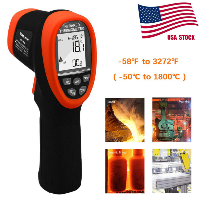 Infrared Thermometer -50℃ to 1800℃, High Temp Gun Thermometer Pyrometer DS 50:1