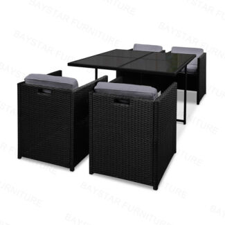 Rio Wicker Rattan Dining 5 Seater Set Black and Grey