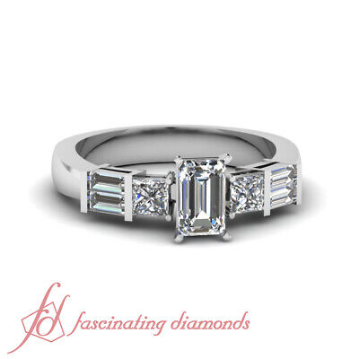 .90 Ct Emerald Cut Womens Diamond Engagement Rings Solid 14K White Gold SI2 GIA