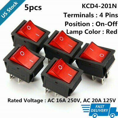 5pcs Rocker Switch With Red Light Kcd4-201n 4 Pin Onoff 2 Position Dpst 250v
