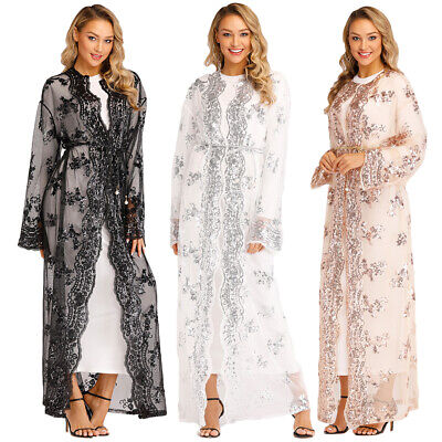 Muslim Women Kimono Sequins Abaya Embroidery Cardigan Jilbab Maxi Dress Kaftan