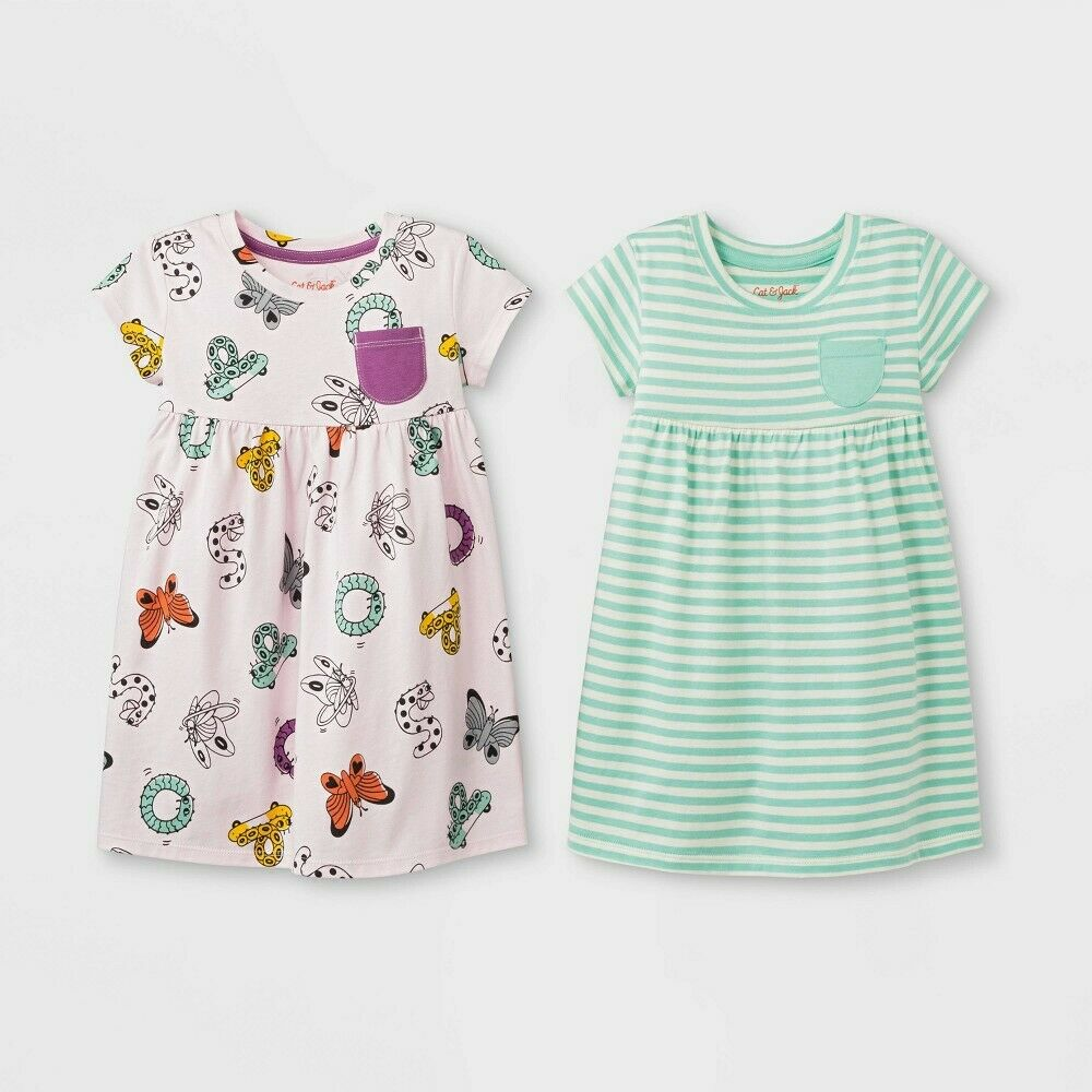 Toddler Girls' 2pk Striped Dress Set – Cat & Jack Light Pink/Green 2T Baby