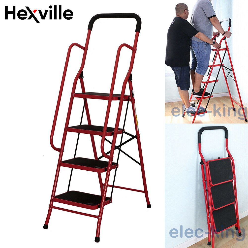 Protable 2 3 4 Steps Ladder Folding Non Slip Safety Heavy Du