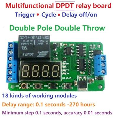 Dc 12v Dpdt Relay Cycle Timer Module Delay Time Polarity Audio Motor Switching