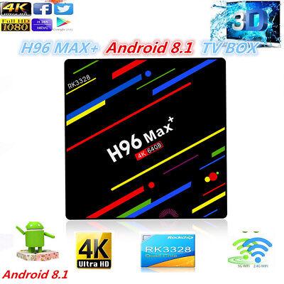 H96 MAX+ Android 8.1 TV Box Quad Heart RK3328 4G 64G Dual WIFI 4K USB 3.0 D1G8J