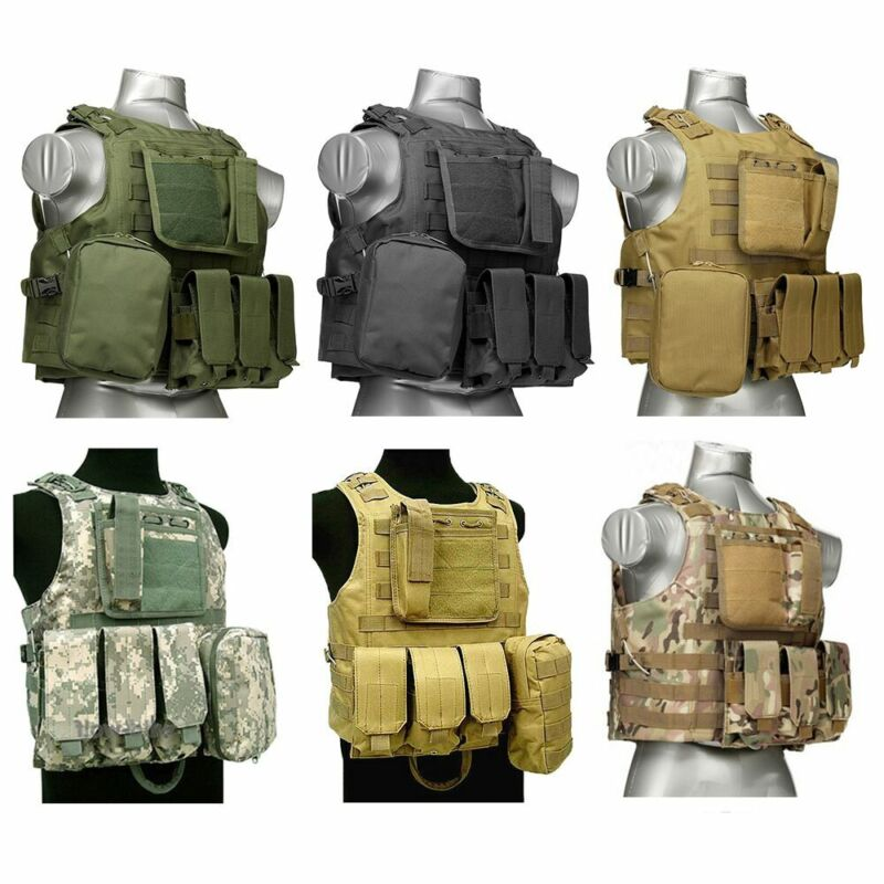 Military Tactical MOLLE Plate Carrier Vest SWAT Police Airsoft Combat Waistcoat