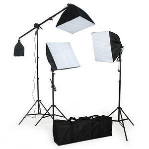 3 x Fotostudio Studioleuchte Set Softbox Studiolampe Stativ Galgenstativ Photo