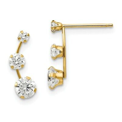 14K Yellow Gold Graduated 3 Stone CZ Stud Earrings Push Back Madi K Kids Jewelry
