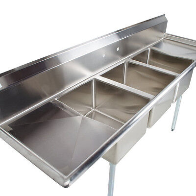88 Stainless Steel 3 Compartment Commercial Dishwash Sink Restaurant Three Nsf