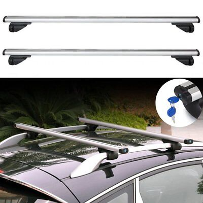 UNIVERSAL Lockable Aluminium Car Roof Rack Bars Rail Anti Theft Luggage Carrier