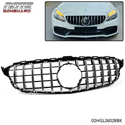 For 2015-2018 Mercedes Benz C-Class W205 Chrome Upper Front Grill GT-R Style