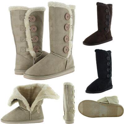 Womens Fur Boots Faux Winter Suede Snow Calf Warm Fashion Sheepskin Shoes New Faux Sheepskin Boot