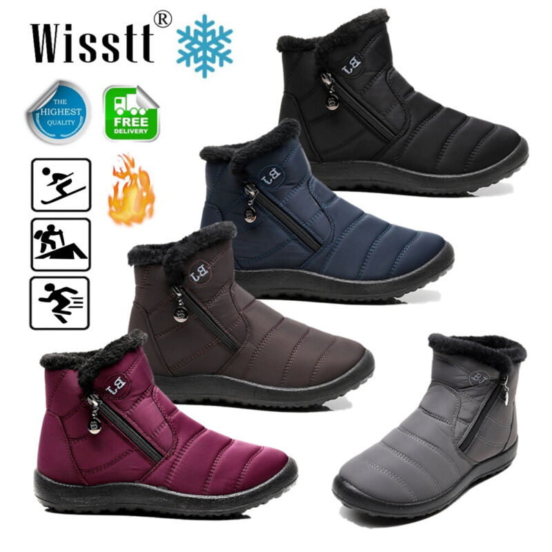 Men's Women Winter Warm Fur-lined Ankle Snow Boots Slip On S