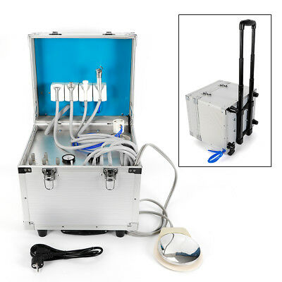 Dental Portable Delivery Unit Rolling Case Powerful Built-inoilless Compressor