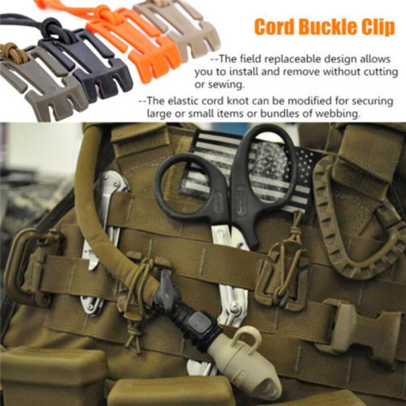 2Pcs 25mm Molle Dominator Strap Webbing Buckle Elastic Cord Hang Clips  BY