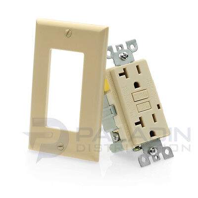 20A GFCI Receptacle Outlet w/ LED & Wallplate UL 2008 - Ivory 20 Amp [1 pc]