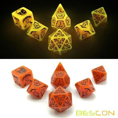 Bescon Glowing Halloween Polyhedral Dice 7-Set, Glow in Dark Halloween DND Dice