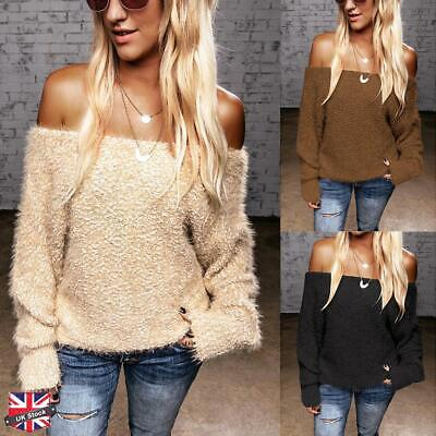 Womens Plush Off Shoulder Bardot Sweater Ladies  Long Sleeve Knitted Jumper Tops