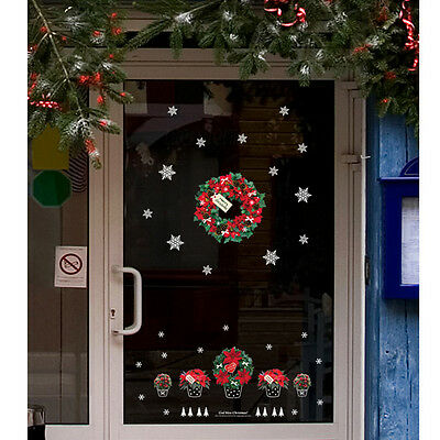 Merry Christmas flower Removable Window Stickers Art Decals XMAS Home Shop Decor