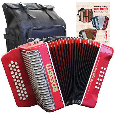Rossetti MAGISTRO 31 Button GCF Sol Accordion Red w/ Bag, Strap and Lesson Book