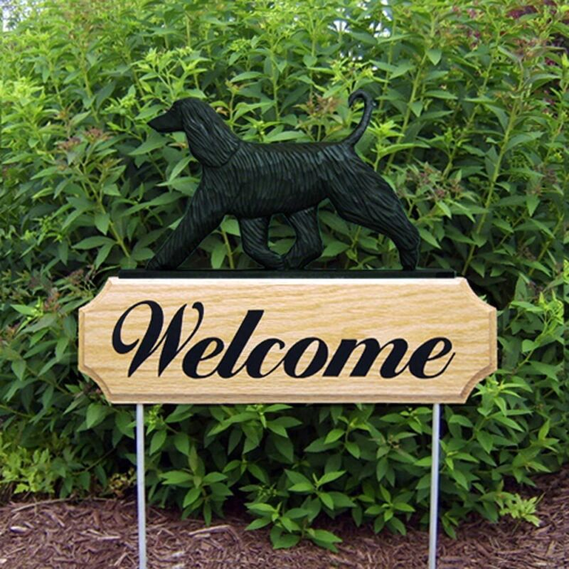 Afghan Breed Wood Welcome Outdoor Sign Black