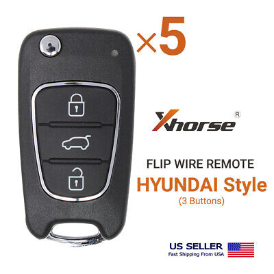 5× Xhorse Universal Wire Flip Remote Hyundai Style 3 Buttons XKHY02EN