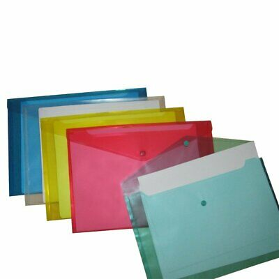 St035- 6 Bright Colored Document File Folders With Snap Button Single Pocket
